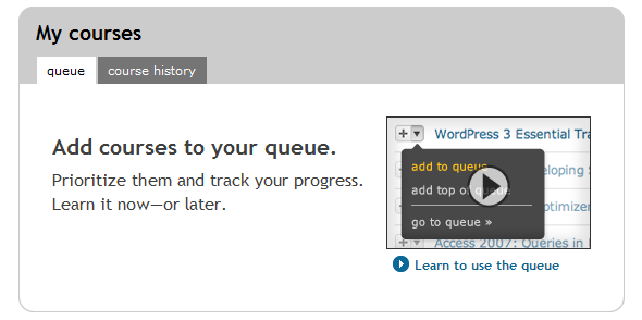 lynda.com queue